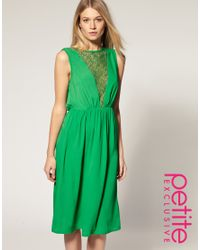 ASOS Collection - Green Exclusive Midi Dress with Lace Insert - Lyst
