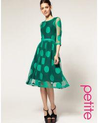 ASOS - Green Midi Dress In Mesh Spot - Lyst