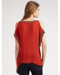 Parker - Red Beaded Open-shoulder Top - Lyst