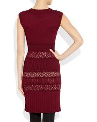 Catherine Malandrino - Red Pointelle-knit Stretch-jersey Dress - Lyst
