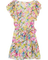 Collette by Collette Dinnigan | Multicolor Floral-print Silk-satin Dress | Lyst