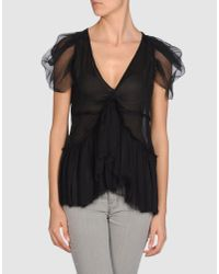 McQ Alexander McQueen - Black Textured Cape Top - Lyst