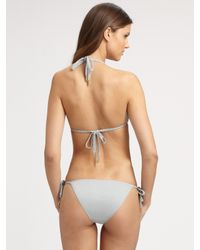 Chloé - Gray Braided Tie String Bikini Swimsuit - Lyst