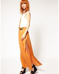 DIESEL | Orange Drape Detail Maxi Skirt | Lyst