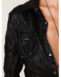 Free People | Black Blank Vegan Leather Buttondown Shirt | Lyst