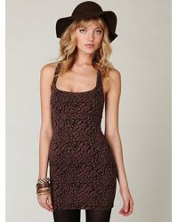 Free People | Brown Animal Knit Bodycon Dress | Lyst