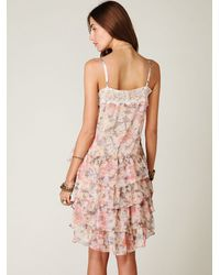 Free People | Gray Printed Tiered Chiffon Slip | Lyst