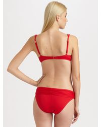 La Blanca | Red Ruched Bikini Top | Lyst