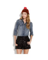 Madewell | Black Night Sky Sequin Shorts | Lyst