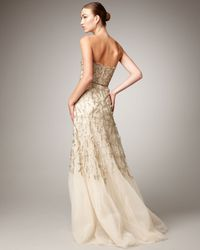 Monique Lhuillier | Metallic Strapless Tulle Chantilly Lace Gown | Lyst