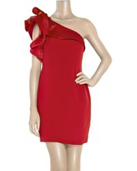 Notte by Marchesa - Red Asymmetric Silk-crepe Dress - Lyst