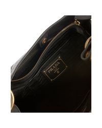 Prada | Black Coated Calfskin Zipper Hobo | Lyst