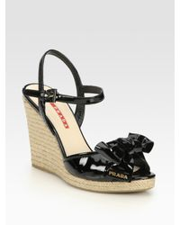Prada | Black Patent Leather Espadrille Wedge Sandals | Lyst