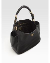 Prada | Black Vitello Daino Hobo Bag | Lyst