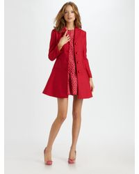 RED Valentino | Red Cotton-wool Bow Coat | Lyst