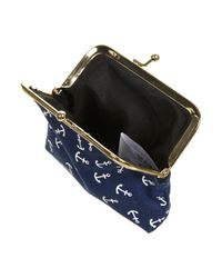 TOPSHOP | Blue Navy Anchor Clip Frame Purse | Lyst