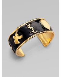 Saint Laurent | Black Ycons Enamel Accented Logo Cuff Bracelet/small | Lyst