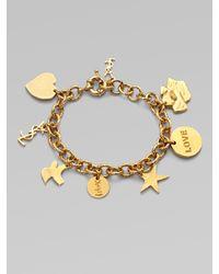 Saint Laurent | Metallic Ycons Goldplated Charm Bracelet | Lyst