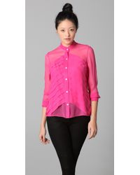 Adam Lippes | Pink Pleated Long Sleeve Blouse | Lyst