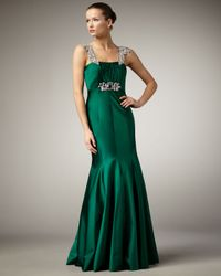 Alberto Makali | Green Bejeweled-strap Gown | Lyst