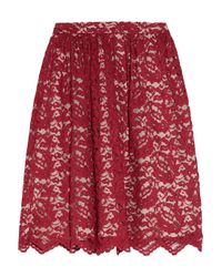 Erdem | Red Madeleine Lace and Silk Midi Skirt | Lyst
