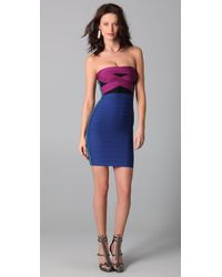 Hervé Léger - Multicolor Strapless Colorblock Dress - Lyst