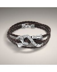John Hardy | Brown Leather Triple Wrap Bracelet with Dragon Accent | Lyst
