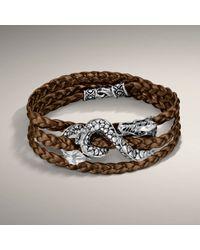 John Hardy - Brown Metalic Bronze Leather Triple Wrap Bracelet with Dragon Accent - Lyst