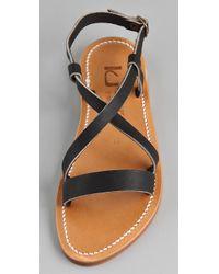 K. Jacques - Black Flavia Flat Sandals - Lyst