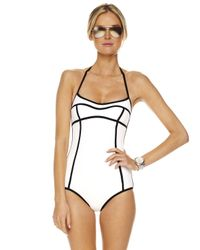 Michael Kors | White Seamed Solids Retro Maillot Swimsuit | Lyst