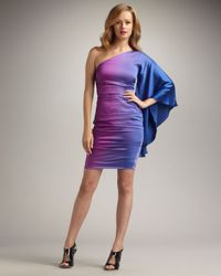 Nicole Miller - Purple One-sleeve Ombre Cocktail Dress - Lyst