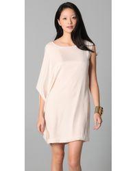 Obakki - Natural Asymmetrical Draped Dress - Lyst