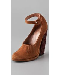 Opening Ceremony | Brown Paul Suede Platform Pumps | Lyst