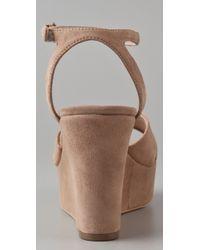 Pour La Victoire - Brown Lulie Suede Wedge Sandals - Lyst