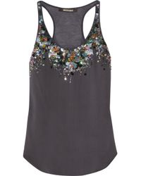 Roberto Cavalli | Black Sequinembellished Silk and Modal Tank | Lyst