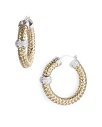 Roberto Coin | Metallic Primavera Diamond Hoop Earrings | Lyst