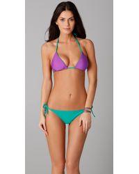 Splendid | Purple Bayside Solid Reversible Triangle Bikini Top | Lyst