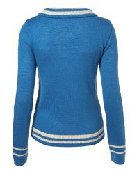 TOPSHOP - Blue Knitted Boat Motif Jumper - Lyst