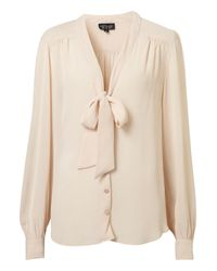 TOPSHOP | Natural Pussybow Blouse | Lyst
