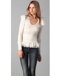 Torn By Ronny Kobo | White Amber Ruffle Sweater | Lyst