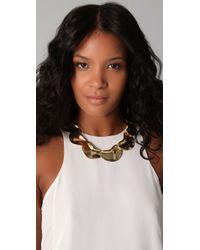 Tuleste - Metallic Solid Petal Necklace - Lyst