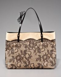 Valentino | Natural Lace Straw Tote | Lyst