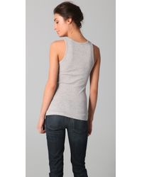 Vince - Gray Heather Dusk High Back Tank Top - Lyst