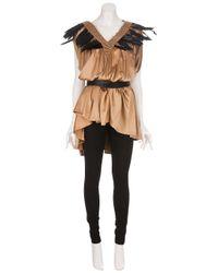 Ann Demeulemeester - Brown Feather Trim Dress - Lyst