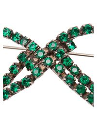 Balenciaga - Green Strass Bow Brooch - Lyst