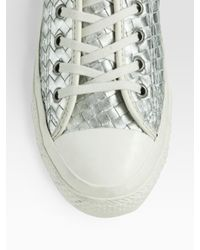Converse - Woven Metallic Leather Sneakers - Lyst