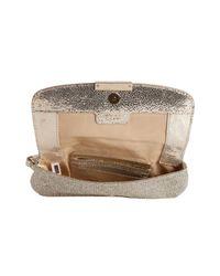 Jimmy Choo - Metallic Champagne Glitter Fabric Zeta Wristlet Clutch - Lyst