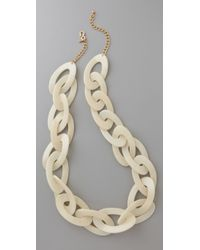 Kenneth Jay Lane | White Pearlized Bone Link Necklace | Lyst