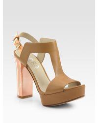 Kors by Michael Kors - Brown Vernon Leather T-strap Platform Sandals - Lyst