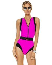 Michael Kors | Colorblock Scuba Swimsuit, Neon Pink | Lyst
